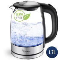 TRESKO Wasserkocher Glas 1,7L Glaswasserkocher LED Edelstahl 2200W Teekocher BPA frei
