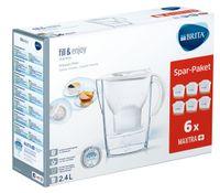 BRITA Wasserfilter Marella im Vorratspack mit 6 x Maxtra Kartuschen, Farbe Weiß