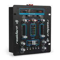 Resident DJ DJ-25 DJ-Mixer  ,  integrierter Verstärker  ,  Bluetooth  ,  USB-Anschluss  ,  SD-Kartenleser  ,  6,3-mm-Anschlüsse für Kopfhörer und Mikrofone  ,  Line-In & Line-Out  ,  2-Kanal-Mischpult  ,  Rack-Einbau möglich  ,  schwarz/blau