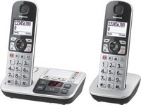 Panasonic Seniorentelefon mit Anrufbeantworter, Notruftaste, Grou00dftastentelefon, schnurlos, schwarz-silber - Plug-Type C (EU)