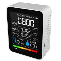 Kohlendioxid-Detektor Temperatur / Luftfeuchtigkeit Luftqualitaetsmonitor Digitales CO2-Messgeraet Formaldehyd-Detektor Luftanalysator fuer CO2 / HCHO / TVOC