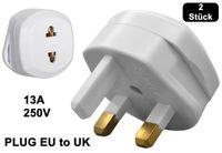 2x Reisestecker UK to EU Reise Adapter 13A EU to UK Steckdosen #R2-D7A