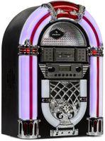 auna Arizona Jukebox Retro-Stereoanlage 50er Jahre Musikbox (Bluetooth, 2 x 2 Watt RMS, LED-Beleuchtung, UKW Radio, USB-Port, MP3-fähiger CD-Player, SD-Slot, Eichenholz) schwarz