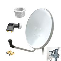ARLI 60cm HD SAT Anlage weiss + Twin LNB + 10m Koaxialkabel + 2x F-Stecker vergoldet