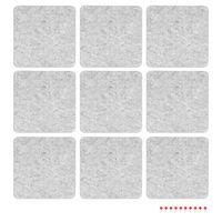 Navaris Filz Memoboards Set quadratisch - 9x Filz Pinnwand 17,7x17,7cm mit Stecknadeln und Klebeband - Filzboard für Küche und Büro - Hellgrau