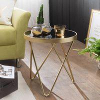 FineBuy Design Beistelltisch DAINA 42 x 46 x 42 cm rund schwarz / Couchtisch matt Gold   Designer Glas Wohnzimmertisch modern   Glastisch mit Metallgestell   Kleiner Sofatisch