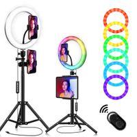"""10 """"Selfie-Ringlicht mit Ständer und Telefonhalter, einstellbares RGB-Regenbogenringlicht, für Live- / Make-up- / Selbstauslöser-Foto- / Video- / Produktfotografie Kompatibel mit iPhone Android"""