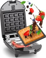 Duronic WM52 2-in-1 Mini Waffeleisen | Waffelautomat für 1 Waffeln | Sandwich Maker 520W | Abnehmbare Antihaft-Kochplatten | Automatische Temperaturregelung | Für hausgemachte belgische Waffeln