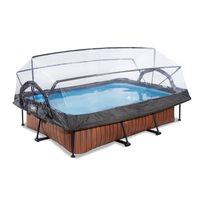 EXIT Wood Pool 300x200x65cm mit Abdeckung und Filterpumpe - braun