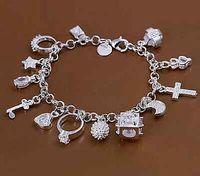 Armband Bettelarmband Anhänger Armschmuck Silberfarben Lila Strass Neu Edel