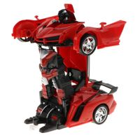 2-in-1 Play Fernbedienung RC Rennwagen Transforming Robot Kids Toy Red rot wie beschrieben