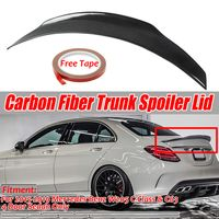 MECO Echte Carbonfaser Heckspoiler für Mercedes Benz W205 C63 AMG 2015-2019, Heckklappen Kofferraumdeckel Fensterlippe Windschutzscheibenflügel