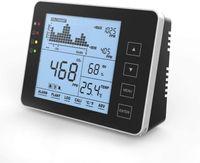 CO2 Messgerät KKmoon Kohlendioxid Detektor 0-5000 ppm CO2 Detektor für den Innenbereich Haushaltsluftdetektor Akustischer Alarm, großer Bildschirm, RH / Temperaturmonitor Tracer