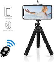 Handy Stativ, Smartphone Stativ Flexibel Mini Dreibeinstativ Universal Handy Halterung Halter Kamera Ständer mit Bluetooth Fernsteuerung Shutter für Samsung, iPhone, Huawei, Sony (Schwarz)