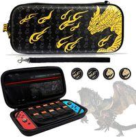 Switch Tasche für Monster Hunter Rise, 4 Stück Silikon Daumengriffkappen und Tragbare Tragetasche für Switch, Reisetasche Hülle mit 10 Spielkartensteckplätzen für Switch Games & Zubehör