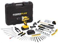 Powerplus POWX00825, Akku-Bohrschrauber, 1400 RPM, 133 teiliges Zubehör + 2 x 20V Akkus, Schwarz-Gelb