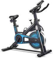 GOPLUS Heimtrainer Fahrrad Indoor Cycle Bike mit Stufenlos Einstellbarem Widerstand, Fitnessbike mit Pulssensoren, mit LCD-Display, Leiser Riemenantrieb