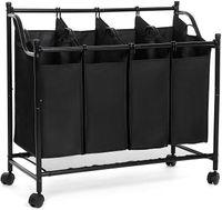 SONGMICS Wäschekorb mit 4 Fächern schwarz 140 L Eisengestell 4 ×35 L faltbar Wäschesammler Wäschesortierer Wäschewagen Wäschebox aus Polyester LSF005
