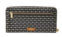 FOSSIL Logan RFID Zip Around Clutch Black Stripe