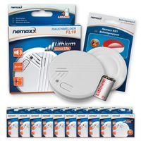 10x Nemaxx FL10 Rauchmelder + 10x Nemaxx NX1 Quickfix Befestigungspad - hochwertiger Rauchwarnmelder mit langlebiger 10 Jahre Lithium-Batterie - nach DIN EN 14604