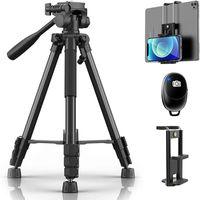 REI Stativ Kamera 150cm Aluminium Handy Stativ Tragfähigkeit 5KG Kompakt Leichtes Stativ mit Bluetooth-Fernbedienung und 2 in 1 Clip für Kamera Handy und ipad