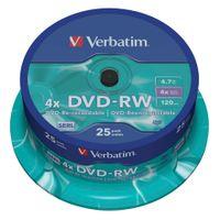 Verbatim - 25 x DVD-RW - 4.7 GB ( 120 Min. ) 4x - mattes Silber - Spindel