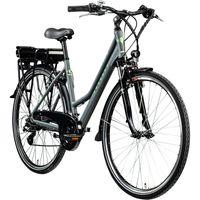 Zündapp Z802 E Bike 28 Zoll Elektro Bike Trekkingrad Damen E Fahrrad 700c Elektrorad E Trekkingrad 21 Gänge, Farbe:grau/grün, Rahmengröße:48 cm