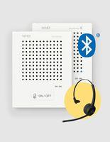 WHD Gegensprechanlage VoiceBridge Bluetooth mit 2x Sprechstellen 1xKunden/1xPersonal, 1x Onear-Headset für Personal - Kontaktlose, vollautomatische Gegensprechanlage