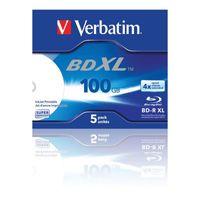 Verbatim - 5 x BD-R XL - 100 GB 4x - mit Tintenstrahldrucker bedruckbare Oberfläche - Jewel Case (Schachtel)