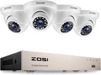 ZOSI  8CH H.265+ 1080P DVR Recorder mit 4 Außen 1080P Weiß Dome Überwachungskamera Set ohne Festplatte, 20M Nachtsicht