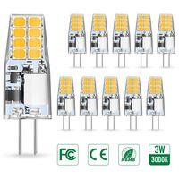 AMBOTHER G4 LED Lampen, 3W LED Birnen ersetzt 35W Halogenlampen, Warmweiß 12V AC/DC LED Leuchtmittel, 350LM Kein Flackern Nicht Dimmbar 360° Lichtwinkel G4 Licht, Stiftsockellampe Glühbirnen 10er Pack [Energieklasse A+]
