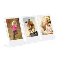 "3 ""L-Form Acryl Fotorahmen Transparent Mini Stand für Fujifilm Instax Mini 8 8+ 70 7s 90 25 26 50s 9 SP-1 SP-2 Film, 3er Pack"