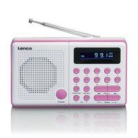 Lenco MPR-034PK - Tragbares FM-Radio mit USB und Micro SD und eingebauter Batterie - Pink