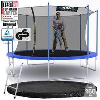 Kinetic Sports Outdoor Gartentrampolin Ø 400 cm, TPLS13, inklusive Sprungtuch aus USA-Mesh +Sicherheitsnetz +Rand- u. Regen-Abdeckung +Leiter, bis zu 160kg, , UV-beständig, BLAU