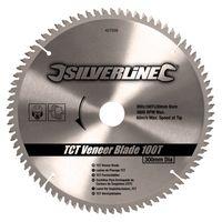 Silverline Hartmetall-Furniersägeblatt, 100 Zähne 300 x 30, Reduzierstücke: 20, 25 und 16 mm