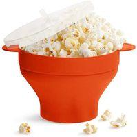 Mikrowelle Popcorn Popper Silikon Popcorn Maker Faltbare Schüssel mit Deckel & Griff für Home Party, Rot