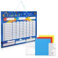 Navaris abwischbare Belohnungstafel magnetisch 40x32cm - Kinder Aufgaben Tafel - Magnettafel inkl. 250 Sternchen - Sterne Aufgabenplan - Englisch