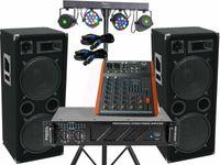 Komplett Set-9 Omnitronic Power Anlage LED Licht Musikanlage DJ 2400 Watt 4x30cm