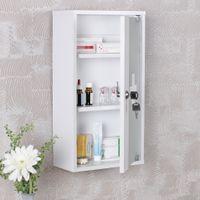 FineBuy Medizinschrank CROSS Holz Weiß 26 x 48 x 12 cm abschließbar mit 3 Fächern   Medikamentenschrank mit Glas-Tür   Erste Hilfe Arznei-Schrank mit Kreuz   Hausapotheke ohne Inhalt