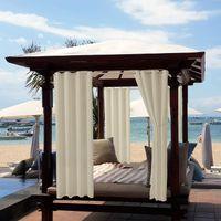 4 Stück Outdoor Vorhang Wasserdicht,Blickdicht Vorhang Winddicht UV Schutz Sonnenschutz Gardinen für Balkon Garten Hof (52*84in, Beige)