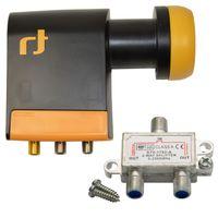 LNB Quad 0,2 dB Inverto Black Pro Unicable IDLB-QUDL42-UNI2L-1PP Unikabel + V-2 Satverteiler 2-fach