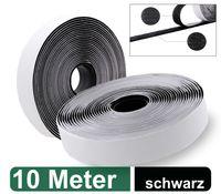 Klettband selbstklebend extra stark - 10 Meter lang, 2cm breit - für Fliegengitter, Klett-Hakenband, Flauschband, Klettverschluss Band, wetterfest, schwarz