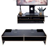 Monitorständer Schreibtischaufsatz Holz Bildschirmerhöhung PC LED Monitor Ständer Aufsatz 49x20x11,5 cm