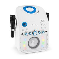 AUNA StarMaker Karaokemaschine Karaoke Player Anlage (Multicolor LED-Lichteffekt, Bluetooth, CD-Player, 2 x Mikrofon, USB-Port, Video-Ausgang) weiß