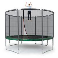 Ampel 24 Outdoor Trampolin 366 cm grün komplett mit außenliegendem Netz, Stabilitätsring, 8 gepolsterten Stangen, Belastbarkeit 160 kg