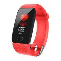 Q1 Smart Armband 1.14 Zoll Farbdisplay Sport Armband Smartband BT 4.0 Fitness Tracker IP67 Wasserdichtes Smart Armband fuer IOS / Android Smartphones,rot