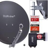 DUR-line Select 60/65 cm Sat Anlage 2 Teilnehmer Komplett Set anthrazit
