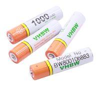 vhbw 4 x AAA, Micro, R3, HR03 Akku 1000mAh kompatibel mit Audioline BigTel 280, 282, Master 300, 380, 382, 383, Matrix 400, 480, 482, Nova 00, 580