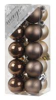Weihnachtskugeln Kunststoff 3cm, 20 Stück, Farbe:Cool Brown mix ( braun gl.-matt )