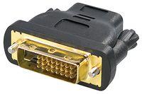 Transmedia DVI / HDMI-Adapter; HDMI-Kupplung 19pol. auf DVI-Stecker 24+1pol., schwarz, vergoldete Kontakte, C 197 B